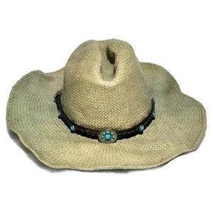 Scala Cowboy Western Hat Natural Fibers Indian M/L